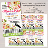 Mother's Day Luncheon School Flyer Party Invite With Tickets - Editable Template