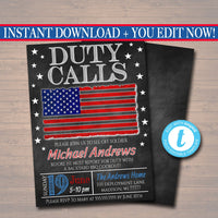 Editable Duty Calls Deployment Invitation Chalkboard Printable Digital US Army, Soldier Invite, Retirement Party, American Flag BBQ Invite