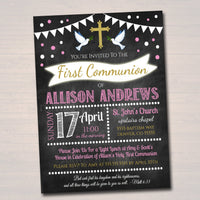 EDITABLE First Communion Invitation, Christian Religious Invite, Diy Invitation Girl Communion Sacrament Party Announcement INSTANT DOWNLOAD