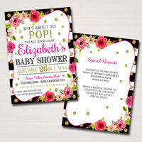 EDITABLE Baby Shower Invitation, She's About to Pop Baby Sprinkle Party Invite, Watercolor Floral, Gold Glitter Stripes, INSTANT DOWNLOAD