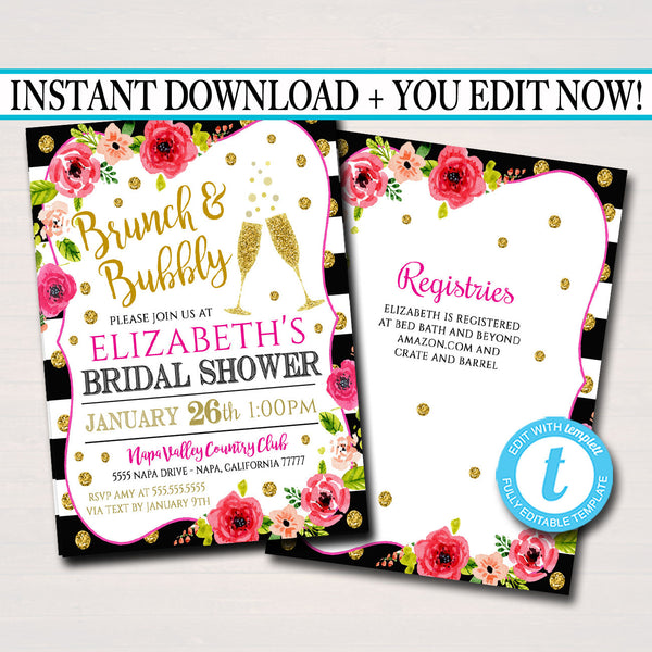 EDITABLE Bridal Shower Invitation, Brunch and Bubbly Ladies Invite, Girl's Brunch, Watercolor Floral, Gold Glitter Stripes, INSTANT DOWNLOAD