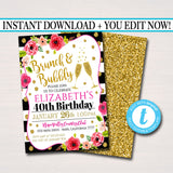 EDITABLE Brunch and Bubbly Ladies Invite, 40th Birthday, 30th Bday, Girl's Brunch, Watercolor Floral, Gold Glitter Stripes, INSTANT DOWNLOAD