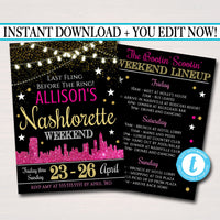 EDITABLE Nashville Tennessee Bachelorette Party Invitation, Nashlorette Party Invite City Skyline Country Weekend Itinerary INSTANT DOWNLOAD