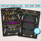EDITABLE Bride Tribe Bachelorette Party Invitation With Itinerary, Girls Weekend Party Invite, Arrows Feathers Gold Glitter INSTANT DOWNLOAD