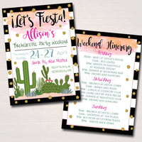 Fiesta Bachelorette Party Invitation With Itinerary, Girls Weekend Party Invite, Desert Cactus Boho Gold Glitter