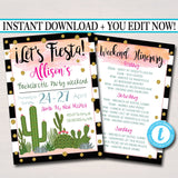 EDITABLE Fiesta Bachelorette Party Invitation With Itinerary, Girls Weekend Party Invite, Desert Cactus Boho Gold Glitter INSTANT DOWNLOAD