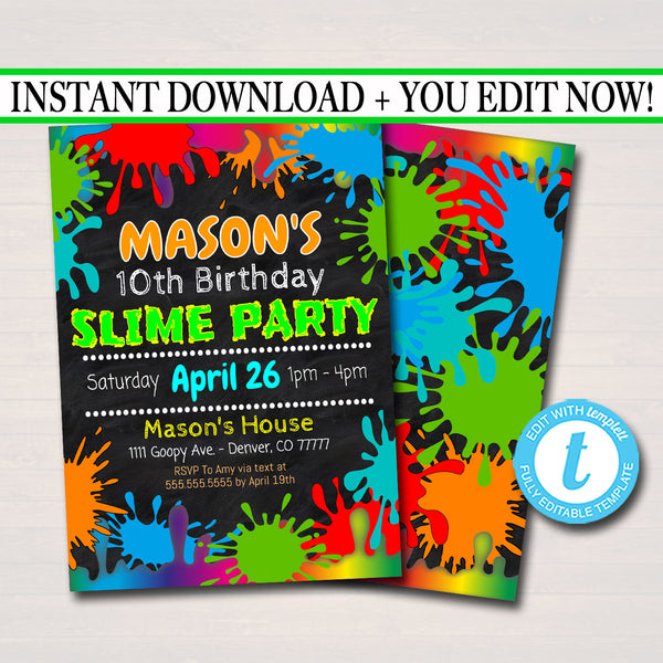 EDITABLE Slime Party Birthday Invitation, Slime Mad Scientist Kids Party Invite Birthday Digital Invite Boy's Slime Party, INSTANT DOWNLOAD