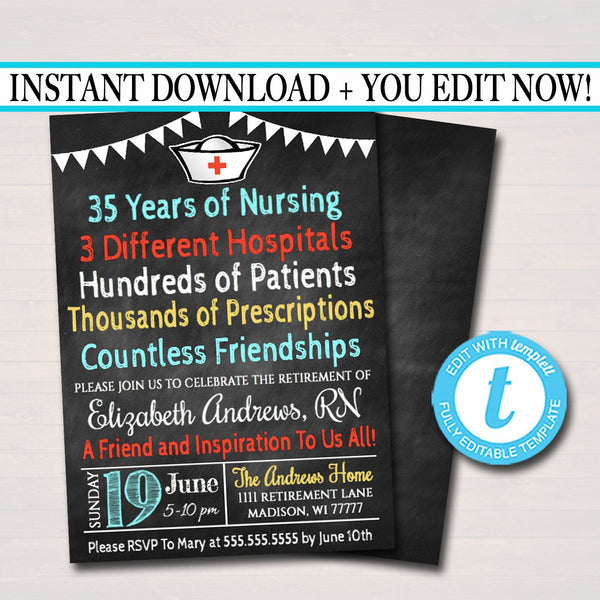 Editable Nurse Retirement Invitation Chalkboard Printable Digital Teacher Invite Retirement Party, RN Doctor Personalized Nurse Career Stats