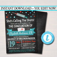 Nurse Graduation Invitation Chalkboard Printable  College Grad Invite Graduation Party, RN Announcement,