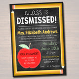 Editable Teacher Retirement Invitation Chalkboard Printable Digital Teacher Invite Retirement Party, School's out Forever Class is Dismissed