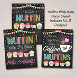 PRINTABLE Muffins With Mom Set Sign Decor, Printable PTA Flyer, Mother's Day Event, School Mom Appreciation Fundraiser Digital Invitation