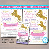 EDITABLE Unicorn Daddy Daughter Dance Set, Magical School Dance Flyer Party Invitation, Church Community Event, pto, pta, INSTANT DOWNLOAD
