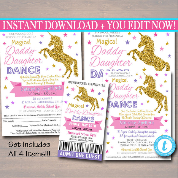 Unicorn Daddy Daughter Dance Set, Magical School Dance Flyer Party Invitation, Church Community Event, pto, pta,