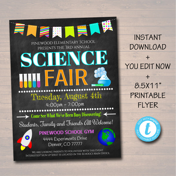 EDITABLE Science Fair Flyer, Printable School Academic Festival Flyer, Engineering Math School Event, Printable pta pto INSTANT DOWNLOAD