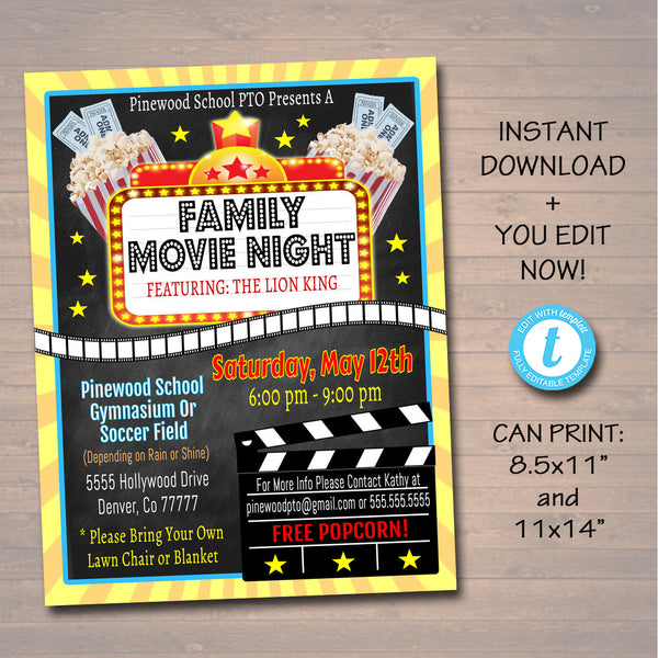 Movie Night Flyer - School Church Benefit Fundraiser Event Poster - DIY Editable Template