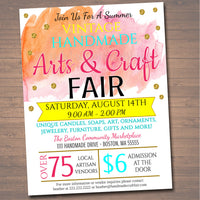 Craft Fair Flyer, Spring Summer Craft Show Invitation Handmade Watercolor Bohemian Vintage Invite Printable Community Event Church