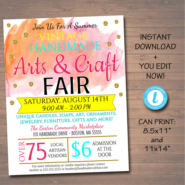 EDITABLE Craft Fair Flyer, Spring Summer Craft Show Invitation Handmade Watercolor Bohemian Vintage Invite Printable Community Event Church