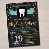 Editable Dental Graduation Invitation, Chalkboard Printable, Dentist College Graduate, Grad Party Invite, Dental Hygienist, INSTANT DOWNLOAD