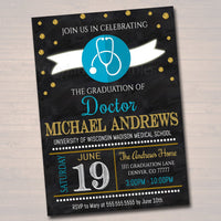 Editable Doctor Graduation Invitation, Chalkboard Printable, Medical College Graduate, Grad Party Invite, Male Nurse, INSTANT DOWNLOAD