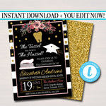Editable Dental School Graduation Invitation Floral Printable, Female College Graduate Grad Party Invite Dentist Graduate INSTANT DOWNLOAD