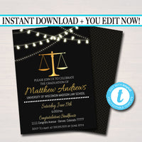 Editable Law School Graduation Invitation Printable, Law Degree College Graduate Grad Dinner Party Invite Lawyer, Attorney INSTANT DOWNLOAD