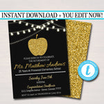 Teacher Retirement Invitation Printable, Education Teacher Degree College Graduate, Grad Party Gold Apple Invite