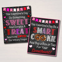 Valentine's Day Cookie Signs, Printable Cookie Posters Set of 2, Cookie Military Fundraiser, Cookie Drop Booth Banner, INSTANT DOWNLOAD