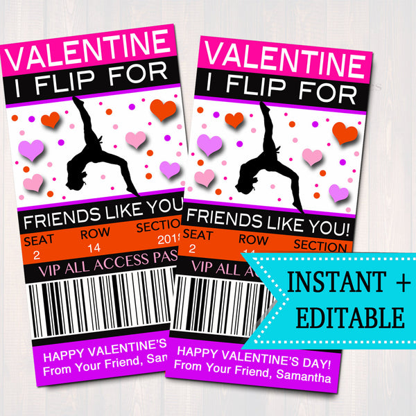EDITABLE Gymnastics Ticket Valentine's Day Cards, INSTANT DOWNLOAD, Printable Kids Valentine, Girl Classroom Valentine, I Flip For Friends