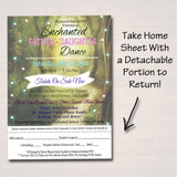 Daddy Daughter Dance Set School Dance Flyer Party Invitation, Enchanted Forest, Church Community Event, pto, pta,