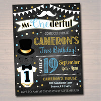 Mr. Onederful Birthday Chalkboard Invite, First Birthday Chalkboard Invitation Little Man Mustache Party Printable