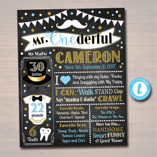 EDITABLE Mr. Onederful Birthday Chalkboard Poster, First Birthday Chalkboard Poster, Little Man Mustache Party, Printable INSTANT DOWNLOAD