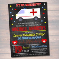 Paramedic EMT Graduation Invitation Chalkboard Printable  College Grad Invite, Retirement Party Ambulance Invite