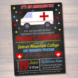 Editable Paramedic EMT Graduation Invitation Chalkboard Printable Digital College Grad Invite, Retirement Party Ambulance Invite