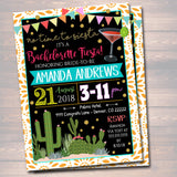 EDITABLE Fiesta Bachelorette Party Invitation Cinco De Mayo, Girls Weekend Party Invite, Desert Cactus Boho Gold Glitter INSTANT DOWNLOAD