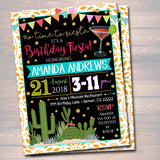Fiesta Birthday Any Age Party Invitation Cinco De Mayo Girls Weekend Party Invite, Desert Cactus Boho Gold Glitter