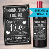 Drink This For Me You're A Tio To Be, Digital Wine Label Pregnancy Announcement, New Uncle Gift, Sister Promoted to Uncle Pregnancy Reveal