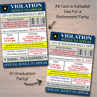 Editable Police Academy Graduation Invitation Violation Ticket Printable Digital College Grad Invite, Retirement Party, Cop Detective Invite