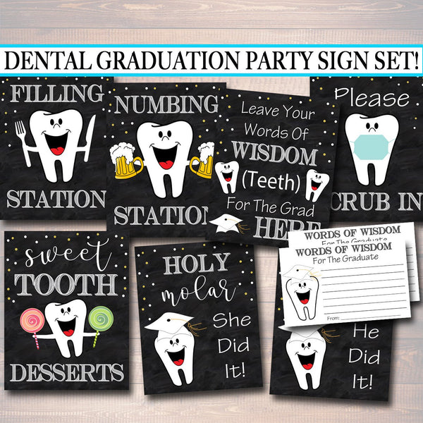 Dental Graduation Party Signs, Chalkboard Printable, Dentist College Graduate, Grad Party Invite, Dental Hygienist, INSTANT DOWNLOAD