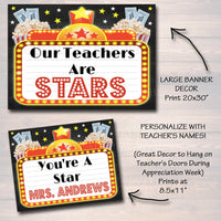 EDITABLE Teacher Appreciation Movie Themed Decor, Digital Files, Cinema Movie Star Themed Week School Events, INSTANT DOWNLOAD Printables
