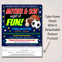EDITABLE Mother Son School Dance Set, Dance Flyer Party Sports Night Invitation, Fundraiser Church Community Event pto pta, INSTANT DOWNLOAD
