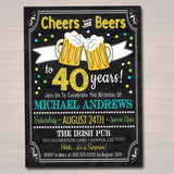 EDITABLE Cheers and Beers Party Invitation, ANY AGE Birthday Printable Invite, Cheers to 30, 40 Years, 50 Years Digital Anniversary Invite