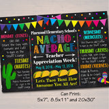 EDITABLE Nacho Average Teacher Appreciation Week Itinerary Poster, Fiesta Theme Appreciation Week Schedule Events INSTANT DOWNLOAD Printable