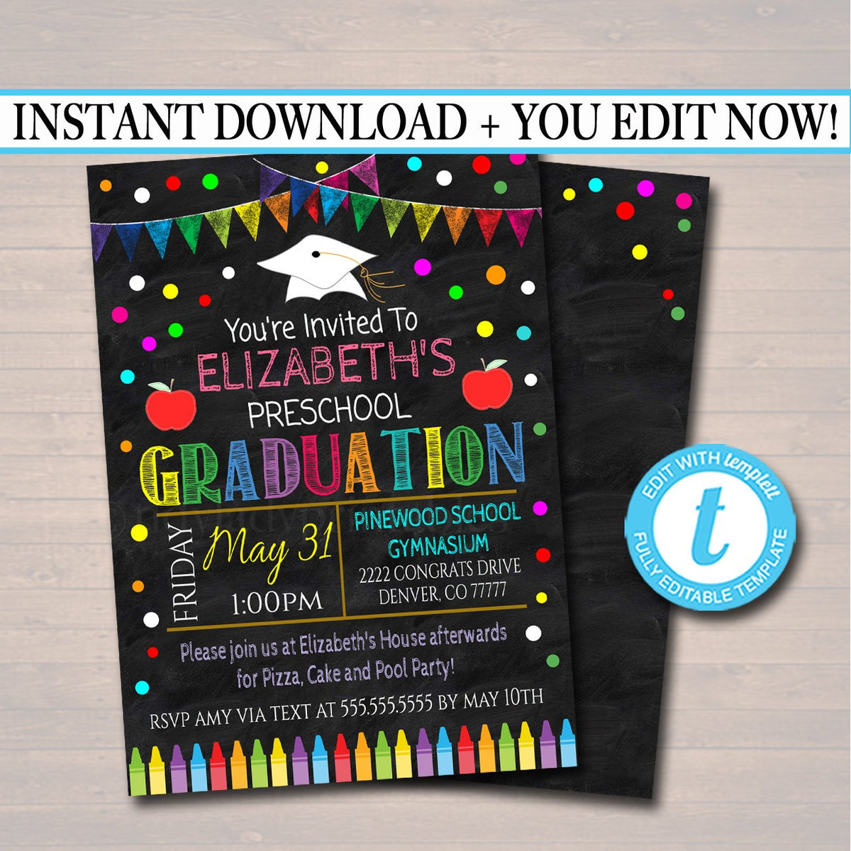 It is a photo of Astounding Preschool Graduation Invitations Free Printable