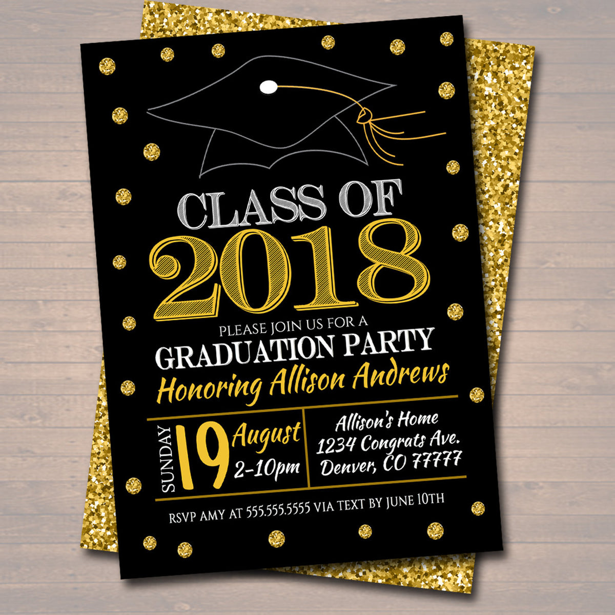 EDITABLE Graduation Party Invitation, High School ...