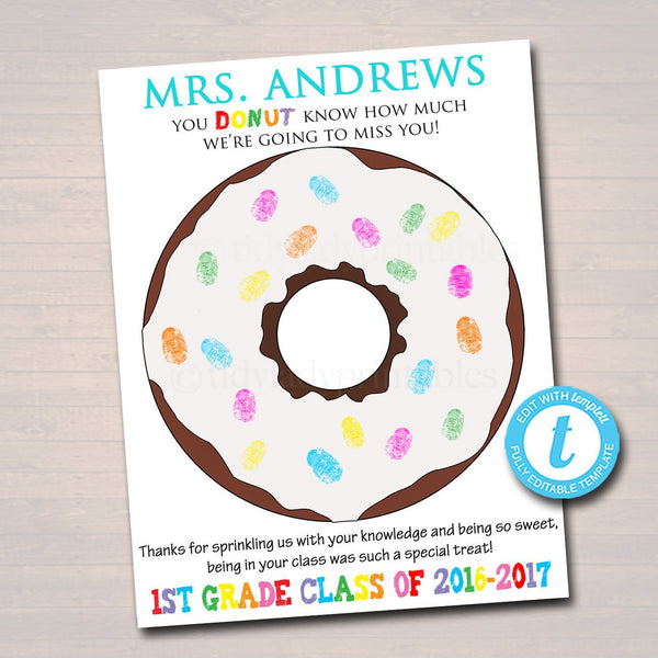 EDITABLE Teacher Gift, Personalized Printable Class Thumbprint Donut Art, Teacher Thumbprint Tree, Teacher Appreciation Week, Teacher Gifts