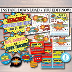 EDITABLE Teacher Appreciation Superhero Themed Decor, Digital Files, Super Hero Star Themed Week School Events, INSTANT DOWNLOAD Printables
