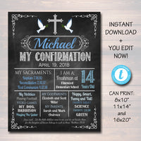 EDITABLE Confirmation Chalkboard Poster, Religous Christian Sacrament Party Decor, Boy First Communion Baptism Sign Digital INSTANT DOWNLOAD