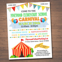 School Carnival Flyer Event  -  Circus Party Printable Invitation