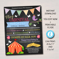 EDITABLE Spring Carnival Flyer, Printable PTA PTO Flyer, School Church Benefit Fundraiser Event Poster, Spring Fling Printable Invitation