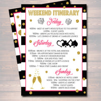 EDITABLE Casino Las Vegas Bachelorette Party Invitation, Glitter Gold Bridal Shower, Lucky In Love Girls Weekend Itinerary INSTANT DOWNLOAD